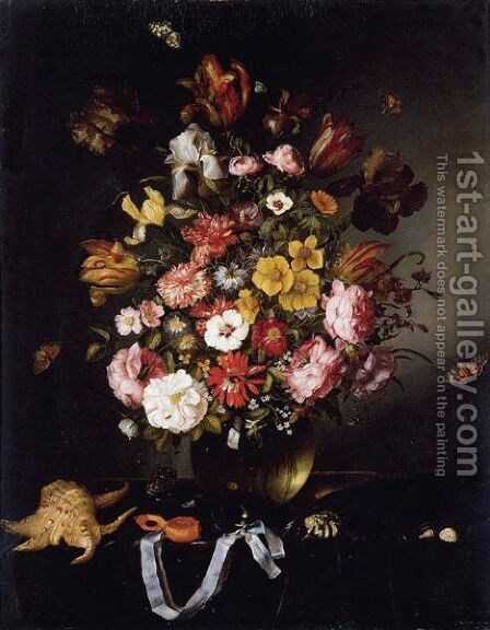 Still Life Of Flowers In A Glass Vase With Butterflies, Seashells And A Pocket Watch by Adriaen Pietersz. Van De Venne - Reproduction Oil Painting