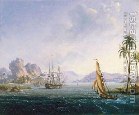 View Of A Tropical Port by Ambroise-Louis Garneray - Reproduction Oil Painting
