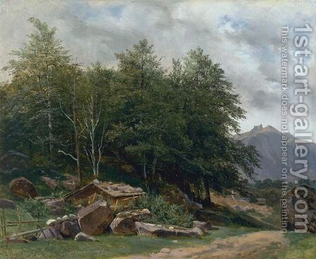 Valley Of Lauterbrunnen, Near Geneva by Alexandre Calame - Reproduction Oil Painting