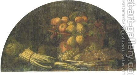 Still Life Of Pears, Apples And Grapes In A Bowl And On A Platter With A Cabbage And Asparagus, All Resting On A Ledge by (after) Giuseppe Antonio Pianca - Reproduction Oil Painting