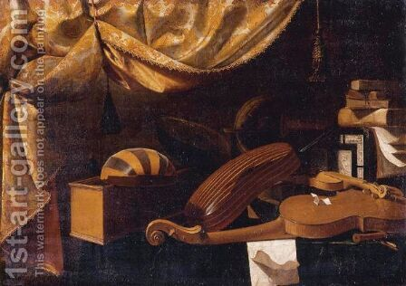 Still Life Of Musical Instruments And Books All Resting On A Table by Bartolomeo Bettera - Reproduction Oil Painting
