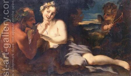 Jupiter And Antiope by (after) Girolamo Brusaferro - Reproduction Oil Painting