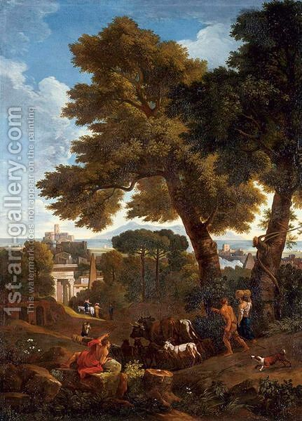 Classical Landscape With Shepherds by (after) Jan Frans Van Orizzonte (see Bloemen) - Reproduction Oil Painting