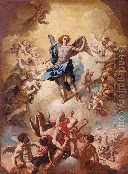 The Archangel Michael Vanquishing Satan by (after) Giacinto Calandrucci - Reproduction Oil Painting