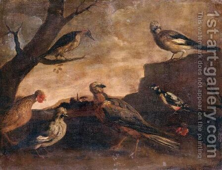 Birds In A Landscape by (after) Paolo Antonio Barbieri - Reproduction Oil Painting