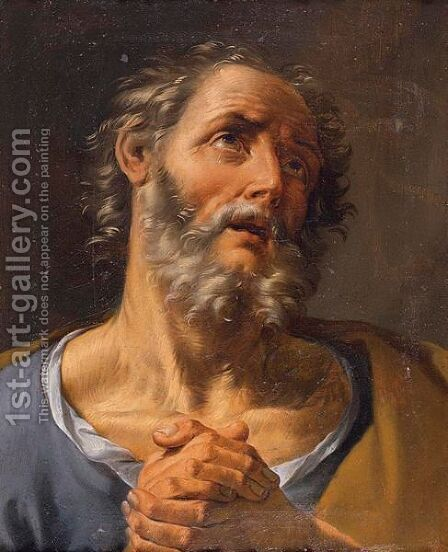 Head Of A Bearded Saint by (after) Guido Reni - Reproduction Oil Painting