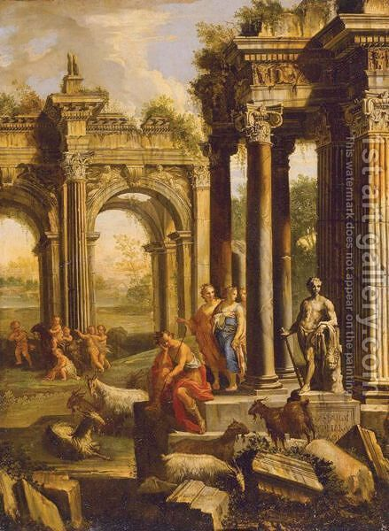 Capriccio Of A Ruined Corinthian Temple With Figures, A Landscape Beyond by Alberto Carlieri - Reproduction Oil Painting