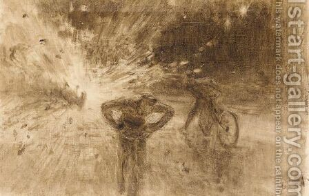 Monochrome Sketch Of The Terrorist Attack In 1916 On King Albert I Of Belgium by Ilya Efimovich Efimovich Repin - Reproduction Oil Painting