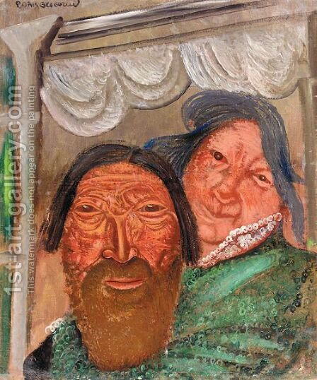 Two Faces At A Window by Boris Dmitrievich Grigoriev - Reproduction Oil Painting