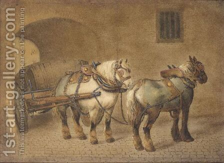 Dray Horses by Benjamin Zobel - Reproduction Oil Painting