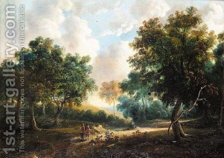 Figures In A Wooded Landscape by (after) James Arthur O'Connor - Reproduction Oil Painting