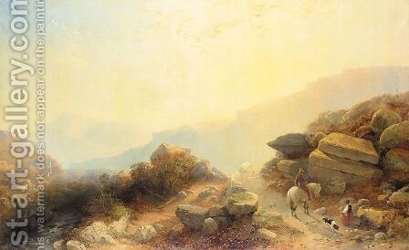 Travellers On A Mountain Path by (after) Joseph Horlor - Reproduction Oil Painting