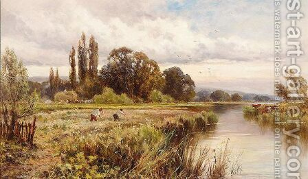 Haymaking By The Thames by Henry Hillier Parker - Reproduction Oil Painting