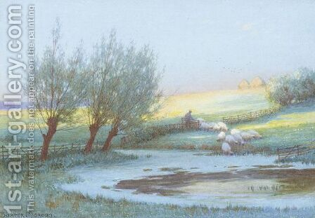 Sheep Watering by Baxter Morgan - Reproduction Oil Painting