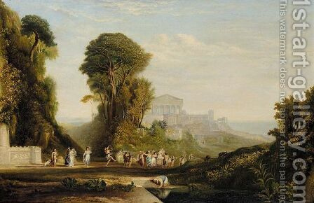 Classical Landscape With Temples And A Festive Procession by (after) Claude Lorrain (Gellee) - Reproduction Oil Painting