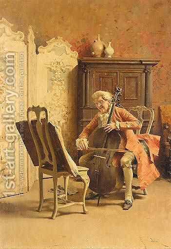 The Cellist by Giovanni Paolo Bedini - Reproduction Oil Painting