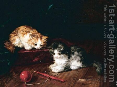 Kittens Playing by Alfred Brunel De Neuville - Reproduction Oil Painting