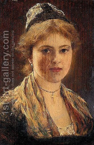 Portrait Of A Woman by (after) Franz Von Defregger - Reproduction Oil Painting