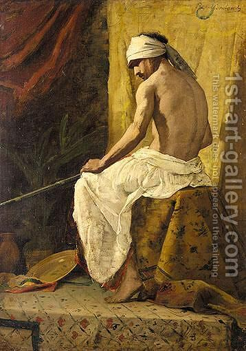 A Seated Arab by Benjamin Jean Joseph Constant - Reproduction Oil Painting