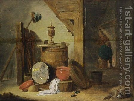 An Interior Of An Inn With A Dog And Kitchen Utensils In The Foreground, Two Figures Near A Fireplace Beyond by David The Younger Teniers - Reproduction Oil Painting