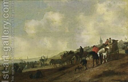 A Beach Scene With Fishermen Unloading Their Catch, And Figures Arriving In Horse-Drawn Carts Together With Dogs, A Church Tower And A Village Beyond by (after) Cornelis Beelt - Reproduction Oil Painting