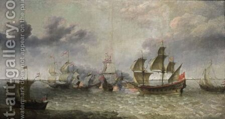A Battle Scene At Sea Between The Spanish And Dutch Fleet by (after) Abraham Willaerts - Reproduction Oil Painting