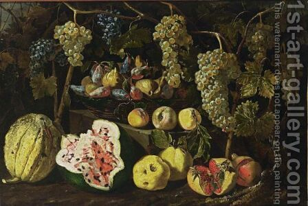 A Still Life With A Watermelon, A Melon, Pomegranates, Peaches, And Grapes Together With Figs And Plums In A Basket On A Stone Ledge by Giovanni Battista Ruoppolo - Reproduction Oil Painting