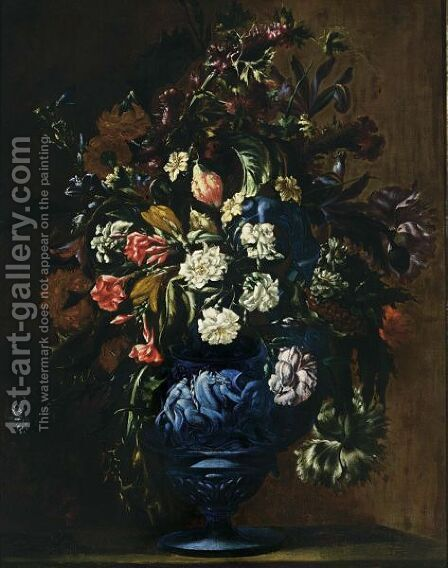 A Still Life With Roses, Carnations, Poppy Anemones, Cornflowers, Irises, Lilies And Other Flowers In A Blue Sculpted Stone Vase by (after) Dei Fiori (Nuzzi) Mari - Reproduction Oil Painting