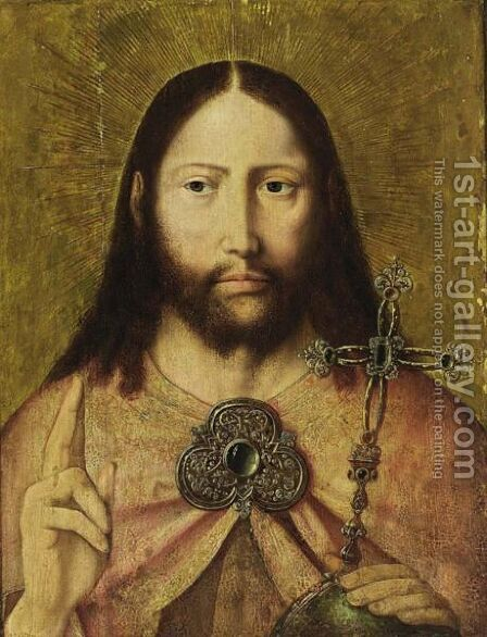 Christ As Salvator Mundi by (after) Quinten Massys - Reproduction Oil Painting