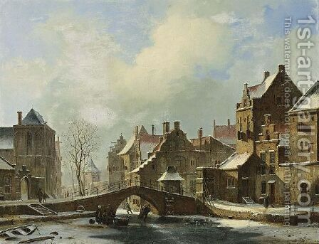 Skaters On A Frozen Canal In A Dutch Town by Cornelis Springer - Reproduction Oil Painting