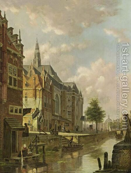 A View Of A Dutch Town by Bartholomeus Johannes Van Hove - Reproduction Oil Painting