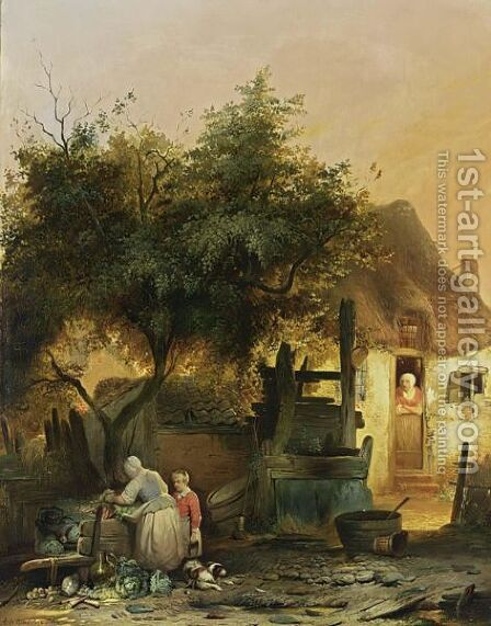 A Farm Yard With A Vegetable Seller by Adrien Ferdinand de Braekeleer - Reproduction Oil Painting