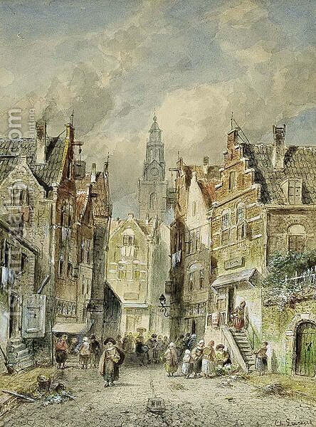 A View Of The Jewish Quarter, Amsterdam by Charles Henri Leickert - Reproduction Oil Painting