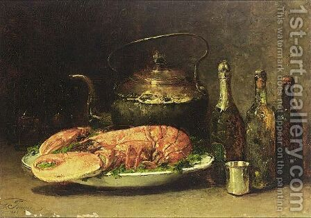 A Still Life With A Lobster by Guillaume-Romain Fouace - Reproduction Oil Painting