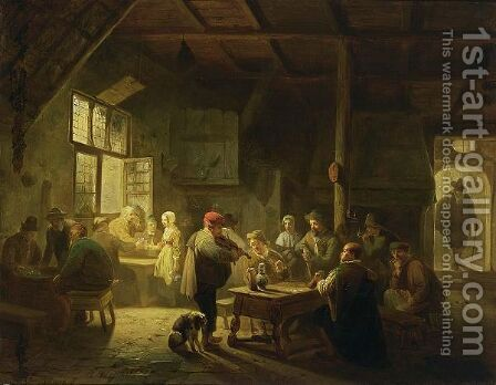 A Busy Tavern Scene by Adrien Ferdinand de Braekeleer - Reproduction Oil Painting