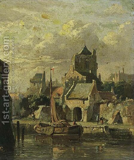 A Town View With A Moored Boat by Adrianus Eversen - Reproduction Oil Painting