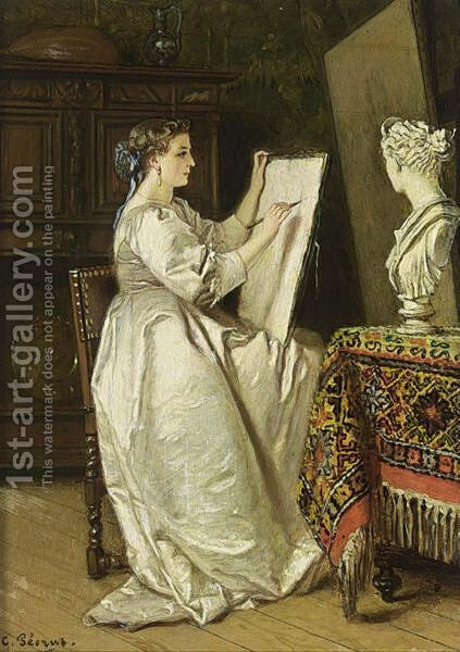The Artist At Work by Charles Francois Pecrus - Reproduction Oil Painting