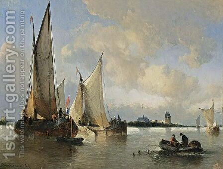 Shipping Off The Dutch Coast by Antonie Waldorp - Reproduction Oil Painting
