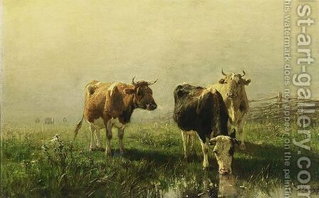 Cows In A Meadow by Anton Mauve - Reproduction Oil Painting