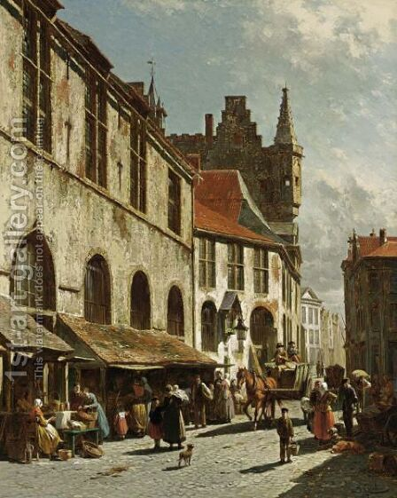 Une Vue De La Boucherie A La Madeleine A Maline, Belgique by Jacques Carabain - Reproduction Oil Painting