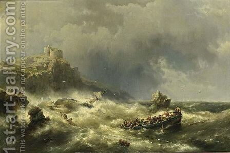 A Shipwreck Near The Coast by Hermanus Koekkoek - Reproduction Oil Painting