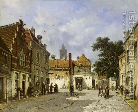 Townsfolk In A Sunlit Street by Adrianus Eversen - Reproduction Oil Painting