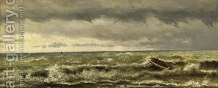 A Rowing Boat On A Choppy Sea by Hendrik Willem Mesdag - Reproduction Oil Painting