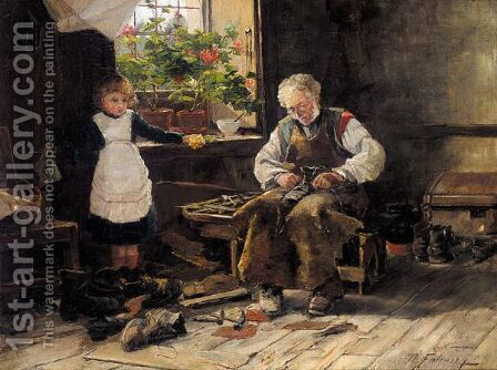 The Village Shoemaker by David Fulton - Reproduction Oil Painting