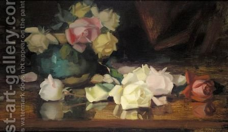 Still-Life Of Roses In A Blue Vase by James Stuart Park - Reproduction Oil Painting