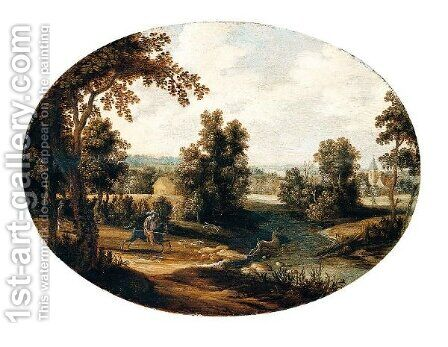 A River Landscape With A Stag Hunt by Isaak van Oosten - Reproduction Oil Painting