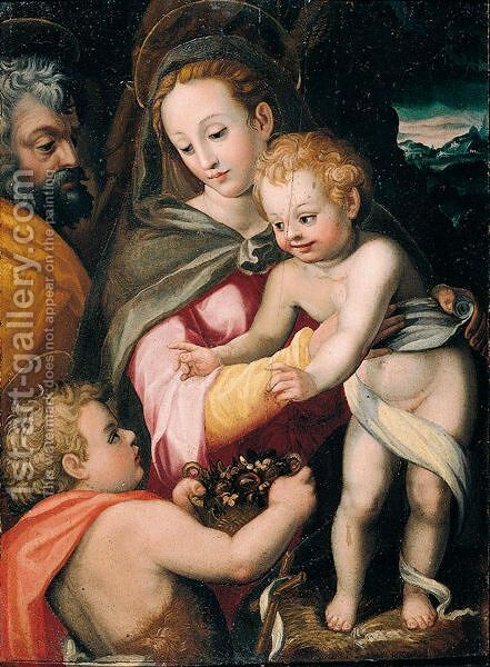 The Holy Family With Saint John The Baptist by (after) Francesco Del Brina - Reproduction Oil Painting