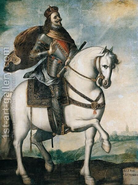 Equestrian Portrait Of King Ferdinand III Of Castile And Leon by (after)  Francisco De Zurbaran - Reproduction Oil Painting