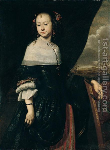 Portrait Of A Young Lady, Three-Quarter Length, Standing, Wearing Black, Holding A Sprig Of Orange Blossom by (after) Abraham Van Den Tempel - Reproduction Oil Painting