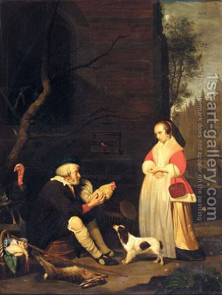 An Old Man Selling Poultry by (after) Gabriel Metsu - Reproduction Oil Painting